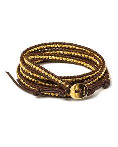 "Chan Luu Gold and Brown Wrap Bracelet, 32"""
