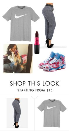 """""""Me chillin✌️"""" by maggieg113 ❤ liked on Polyvore featuring NIKE and MAC Cosmetics"""