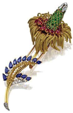 Marchak - Broche 'Fleur' - Or, Platine, Grenats Démantoides, Rubis, Saphirs et Diamants - Vers 1950