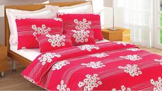 Custom Queen Size Red and Black White Floral Poppy Print Bedding Set. $125.00, via Etsy.