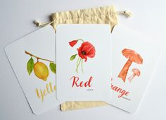 Hand-painted color learning cards designed for little hands to hold. Learning Cards, Card Stock, Ann, Hand Painted, Watercolor, Artwork, Prints, Handmade, Etsy