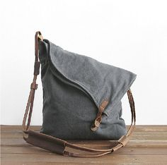Drak Grey Canvas Shoulder Bag, Canv