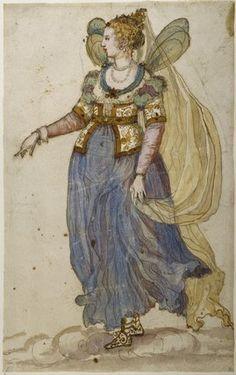 "Costumes by Inigo Jones and Buontalenti, sketch for the masque ""Oberon the Faery Prince"""