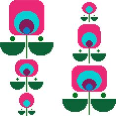Fun colourful geometric retro flowers. Contemporary cross stitch design. Modern…