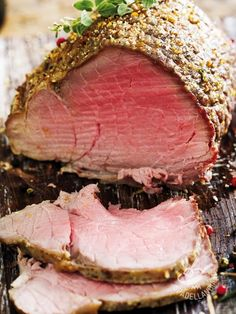 Photo about Sliced rare beef, roast covered in pepper and herbs. Image of sirloin, cooked, roast - 3957295 Sirloin Tip Roast, Sirloin Tips, Beef Tenderloin, Beef Joint, Cottage Cheese Salad, Roast Beef Recipes, Recipe Images, Sous Vide, Stuffed Peppers