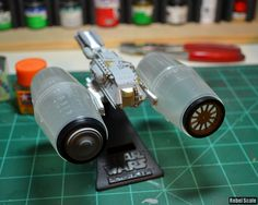 Build log for my Rebel Tanker model, which was based on the background ship from the end scene in The Empire Strikes Back Recycled Toys, Recycled Art, Concept Ships, Concept Art, Arte Robot, Sci Fi Models, Spaceship Design, Found Object Art, Tabletop Games