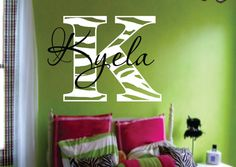 "Zebra name decal - Modern Chic Vinyl Wall Decal -Animal Print Shabby Chic-Teen Girl Wall-Nursery 27""H x 27""W"