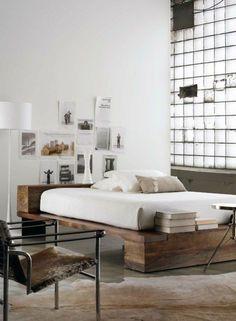 1 lit design industriel pour chambre a coucher loft lit deux places pas cher