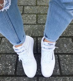 9129edba69f1e0 Reebok freestyle hi top classics MOTO mom jeans 80s fashion Reebok Classic High  Tops