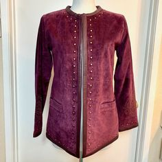 b8a80d0e8f8e Linea by Louis Dell'Olio Studded Suede Leather Purple Blazer Coat Jacket XS  #LineabyLouisDellOlio