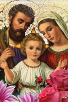 Feast of the Holy Family is on the first Sunday after Christmas. Arrange a family get together and meal. Catholic Prayers, Catholic Art, Religious Art, Catholic Saints, Roman Catholic, Jesus Christ Images, Jesus Art, Religious Pictures, Jesus Pictures