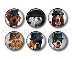 Steampunk Dog  Fridge Magnets  Dog Magnets  by ShakespearesSisters