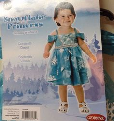 Snowflake Princess Dress Infant 0-6 month Blue Christmas Winter Picture Prop #Unbranded #Holiday