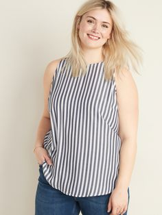 Discover cute plus-sized blouses and shirts for every occasion from tailored shirts in cotton poplin to silky-soft camisoles, perfect for layering. Plus Size Tank Tops, Plus Size Shirts, V Shape Cut, Tailored Shirts, Swing Top, Shop Old Navy, Vertical Stripes, Shirt Blouses, Latest Trends