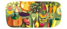 Illustrations for wall decoration in the canteen. by Yulia Drobova, via Behance