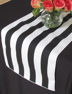 White and black stripe table runner - white edge - Select A Size