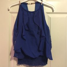 Royal Blue Shirt With Gold Necklace Madrag Tops Blouses