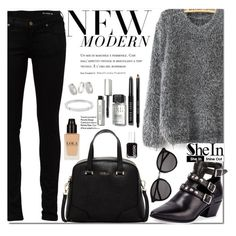"""""""Shein Grey  Mohair Loose Sweater"""" by fattie-zara ❤ liked on Polyvore featuring Yves Saint Laurent, Amica, Furla, Bobbi Brown Cosmetics, Essie, Michael Kors and Topshop"""