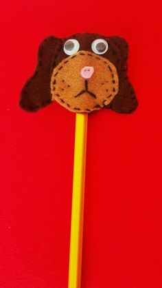 Dog felt pencil topper