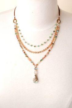 Lightrain Rainbow Seashell Ocean Nautical Pendant Necklace Vintage Bronze Chain Statement Necklace Handmade Jewelry Gifts