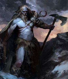 Half Frost Giant & Half Human (Barbarian Axeman), Igor Sid on ArtStation at… Fantasy Anime, Fantasy Monster, Fantasy Kunst, Fantasy Rpg, Dark Fantasy Art, Medieval Fantasy, Fantasy Warrior, Fantasy Races, Character Concept