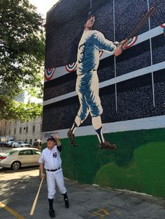 The Babe pointing toward the home run in front of the mural at the Wininger Law Firm. Birmingham Art, Birmingham Alabama, New York Yankees, Murals, Law, Urban, Birmingham, Wall Paintings, Mural Painting