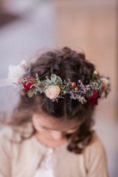 Pretty flower girl hair: http://www.stylemepretty.com/wisconsin-weddings/milwaukee/2015/04/14/glamorous-beer-garden-inspired-wedding/   Photography: Heather Cook Elliott - http://www.heathercookelliott.com/