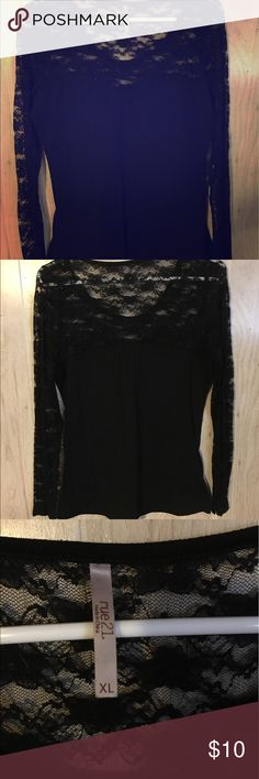 Rue21 Black Lace Long Sleeve Top, Size XL Rue21 Black lace long sleeve top, size XL. Gently used. Bundle to save! Rue21 Tops Tees - Long Sleeve