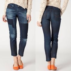 """Anthropologie AG Stevie Ankle Patchwork jeans Fun patchwork jeans from Adriano Goldschmied, size 25. These jeans were exclusive to Anthropologie. Flattering cut and a fun style! In excellent, lightly worn condition. 26.5"""" inseam. """"Indigo patches and well-placed whiskers create a worn in look to match this pair's soft feel. Five pocket styling. Machine wash. 7.5"""" rise. Made in USA."""" Anthropologie Jeans Ankle & Cropped"""