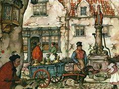 Anton Pieck, Paint Photography, Cottage Art, Amazing Paintings, Art Paintings, Dutch Painters, Dutch Artists, Gustav Klimt, Illustration Art