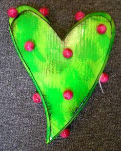Dot Heart Green & Pink