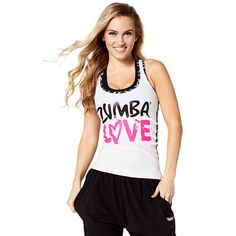 ZUMBA LOVE RACERBACK - WEAR IT OUT WHITE --------- Have the time of your life in the Zumba Love Racerback. With a vibrant all over tribal print on the back, this regular length tank lets you express yourself in the best way possible!