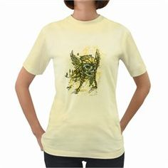 Pirate Skull  Womens  T-shirt (Yellow) by Contest1814230