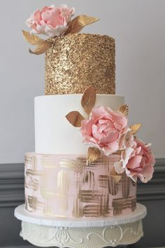 Three Tier Pink and Gold Wedding Cake - Featured Cake: Alliance Bakery; Glamorous gold and pink three tier wedding cake - Cool Wedding Cakes, Beautiful Wedding Cakes, Wedding Cake Designs, Beautiful Cakes, 3 Teir Wedding Cake, Beautiful Gorgeous, White And Gold Wedding Cake, Green Wedding, Pink Gold Cake
