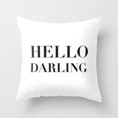 Velveteen Pillow - Hello Darling - Black and White Throw Pillow ...