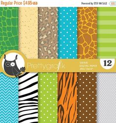 80% OFF SALE Safari digital papers by Prettygrafikdesign on Etsy