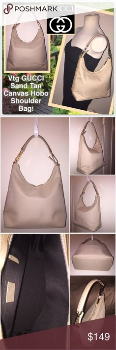 """Vintage GUCCI Sand Tan Canvas Hobo Shoulder Bag! Vintage GUCCI Sand Tan Canvas Hobo Shoulder Bag! Features:100% authentic, vintage early 90's, sand tan canvas material sand leather trim, gold tone  GUCCI hw, hobo shoulder design, leather shoulder strap, top zip closure w/ GUCCI pull, int zip pocket, brn lining, """"Gucci Made in Italy"""" leather tab with serial no. 28335 002122 on back. Measures 10"""" high (side), 7.5"""" high (mid) x 10"""" across x 4 1/2"""" wide. 7"""" sh clearance. Very, very minor…"""