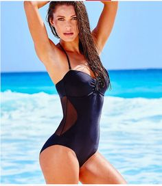 perfect black one piece bathing suit ~