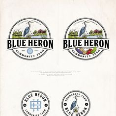Blue Heron Community Farm - Simple, Vintage Inspired Logo For Small Vegetable Farm