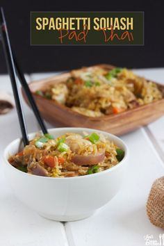 This Spaghetti Squash Pad Thai is low-carb healthier version of the classic take-out dish! It's so flavorful, full of veggies and a nice mix of textures! It's a dairy-free, gluten-free, paleo, keto and friendly option that is going to be a sure hit. Paleo Recipes, Low Carb Recipes, Real Food Recipes, Cooking Recipes, Yummy Food, Thai Recipes, Indian Recipes, Tasty, Whole 30 Recipes