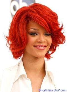 Rihanna short red hair