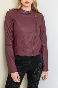 Moto it up with the Maroon Moto Leather Jacket. This vegan leather is a pop of color to your collection.  Marron Motto by Hayden Los Angeles. Clothing - Jackets Coats & Blazers - Jackets Los Angeles California
