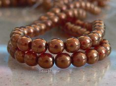 Maple Sunset Czech Round Glass Beads 6mm Druk  25 by simplypie