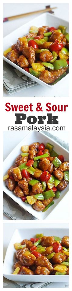 Sweet & Sour Pork - your favorite Chinese takeout at home with this super easy and DELICIOUS recipe | rasamalaysia.com