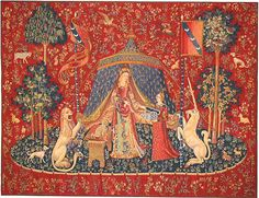 The Lady and the Unicorn (La Dame à la licorne) is the title of six medieval tapestries which can be found in the Musée du Moyen-Âge in Paris. Drawn in Paris and woven in Flanders: Heart's Desire. Medieval Tapestry, Medieval Art, Renaissance Art, Jacques Le Goff, Unicorn Tapestries, Unicorn Painting, Unicorn Art, Harry Potter, Limousin