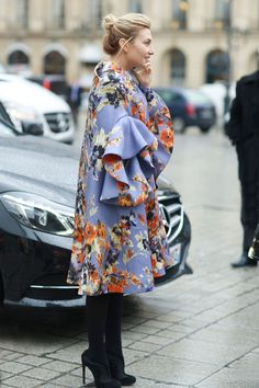 street style: Paris Fashion Week Fall 2014... This coat isn't just a topper, it's the whole outfit.  Source: Tim Regas