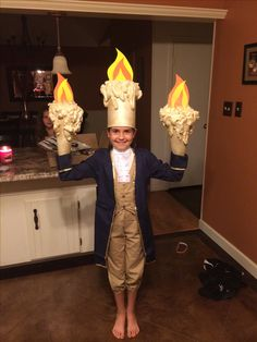 The costume we made for my Cayli's debut of Lumiere in her school play 'Beauty & The Beast! She's gonna be amazing!