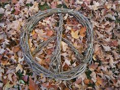 I went and got grapevine from woods. This is made from 3 pieces, First piece is the outer circle, then I made 2 straight pieces. The one is the middle piece and the next was one I bent in half to create the upside down (v)