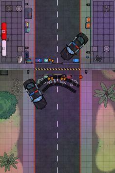 [Map][Dungeondraft][Cyberpunk] Police Checkpoint Battle Map: cyberpunkred Fantasy Battle, Fantasy Map, Dnd World Map, D20 Modern, Sci Fi Rpg, Scale Map, Rpg Map, Cyberpunk 2020, Cyberpunk Character