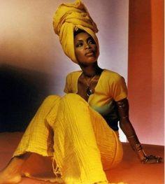 'High head wrap - Erykah Badu. Such a beautiful queen.'